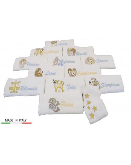 Set bagno spugna salvietta 1+1 viso bidet segno zodiacale scatola idea regalo
