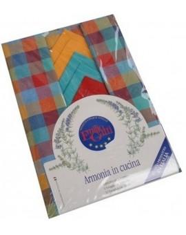 Tovaglia tavolo cucina pranzo 12 tovaglioli italiano 100% cotone quadri colori