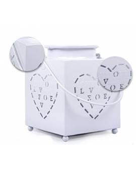 Lanterna Portacandela Love Cuori Metallo effetto Smaltato Bianca idea Regalo