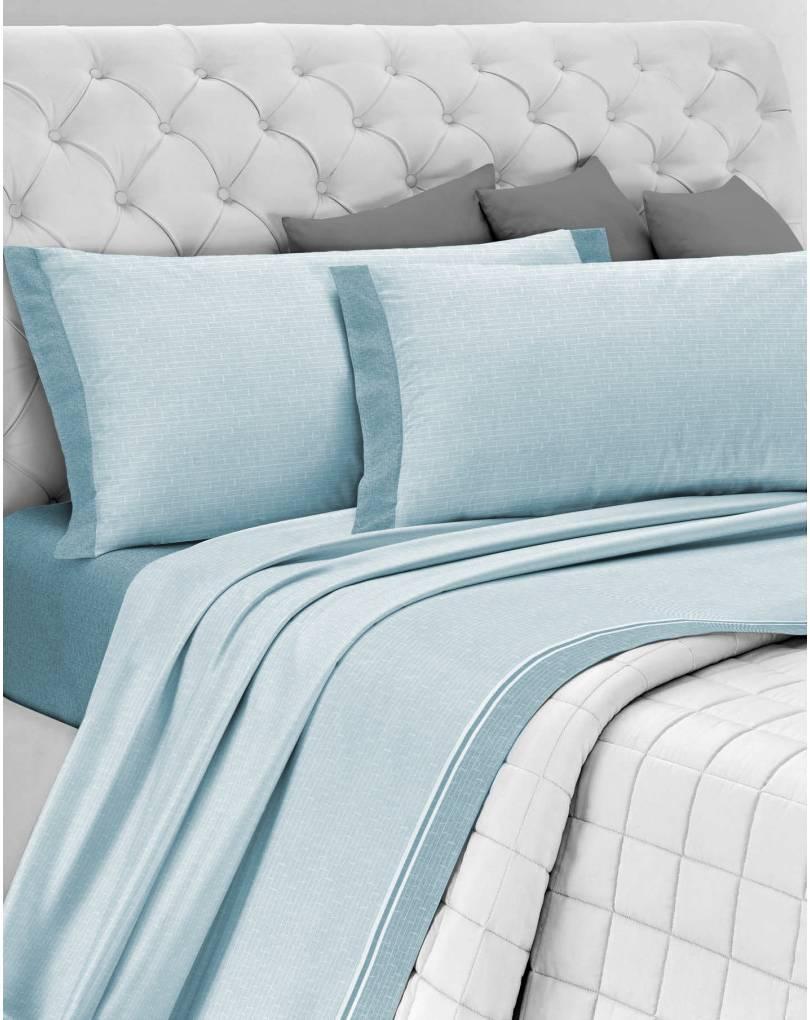 Completo lenzuola letto matrimoniale flanella azzurro - Completi per letto matrimoniale ...