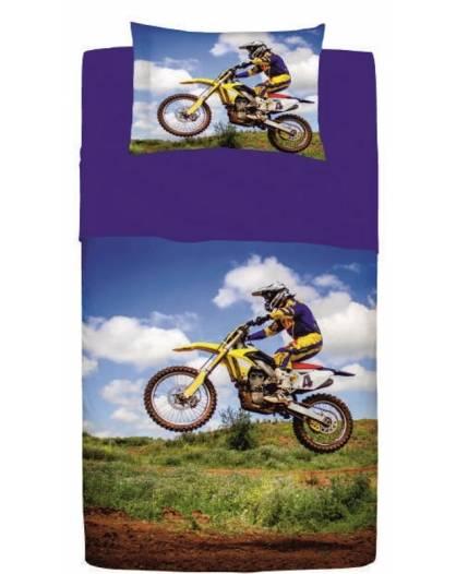 Completo Letto Piazza e Mezza Lenzuolo Copriletto Puro Cotone Motocross per Ragazzo