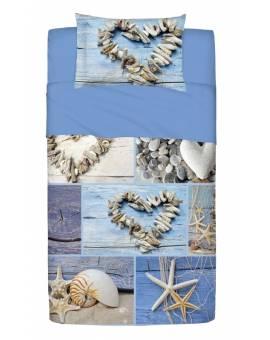 Completo Copriletto Letto Una Piazza e Mezza con Federe Azzurro Mare Conchiglie