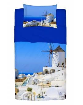 Completo Lenzuolo Copriletto Piazza e Mezza Stampa Fotografica Grecia in Cotone