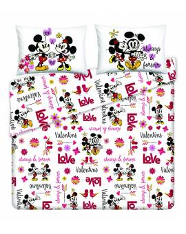 Completo Parure Lenzuola Sopra Matrimoniale Disney Topolino Minnie Love