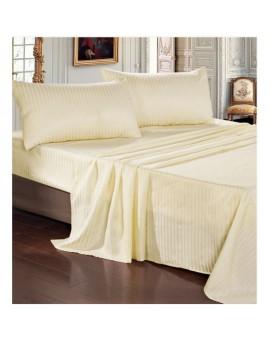 Completo lenzuola RASO cotone 100% Panna letto Matrimoniale